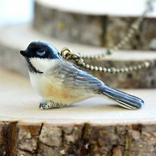 Hand Painted Porcelain Chickadee Bird Necklace - Antique Bronze Chain Ceramic