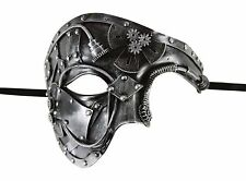 Silver Steam Punk Plastic Mask Gears Phantom Style Masquerade Costume Halloween