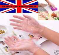100 X NEW DISPOSABLE PLASTIC POLYTHENE CLEAR GLOVES FOOD CLEANING DECORATING CAR
