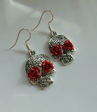 SKULL charm earrings RED ROSE hooks Silver day of the dead silver
