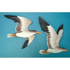 2 Metal Seagull Wall Plaques Soaring Birds Nautical Home Decor Flying Shore Bird