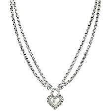 Scott Kay Double Signature Chain Sterling Silver Diamond Heart Necklace