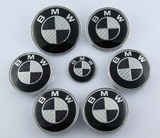 NEW 7Pcs Carbon Fiber Black/Silver Emblem Logo For BMW 73mm/82mm Hood Trunk