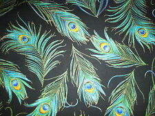 PEACOCK FEATHERS BLUE GREEN METALLIC GOLD BLACK FEATHERS COTTON FABRIC BTHY