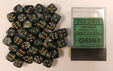 Chessex 12mm Dice Set of 36 d6s Scarab Jade w/ Gold CHX 27815 *