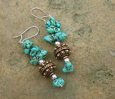 TURQUOISE NUGGET BEADS COPPER SILVER EARRINGS DANGLE HANDMADE JEWELRY USA AIMEES