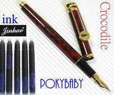 FREE SHIP Crocodile Fountain Pen F11 RED marble + 5 JINHAO cratridges BLACK ink