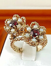 ANTIQUE 14K YELLOW GOLD NATURAL 2.26CT ROUND OLD MINE RUBY & PEARL VINTAGE RING
