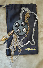 MIMCO*STATEMENT NECKLACE*GOLD & SILVER*DOUBLE CHAINS*BLACK ROUND CENTER PIECE*