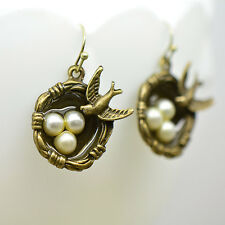Bird Nest Earrings, Antique Bronze Finish, Vintage Style Charm Pendant Earring