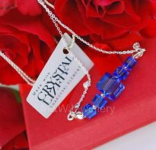 925 STERLING SILVER CHAIN NECKLACE SWAROVSKI Elements CUBE SAPPHIRE 8mm - 4mm