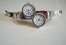 Silver finish metal band   dual time 2 time zone  fashion women's watch