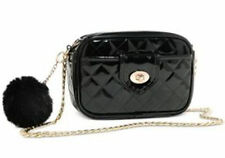 ARIANA GRANDE BLACK QUILTED PURSE WITH POM POM HANDBAG SHOULDER BAG CROSSBODY
