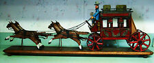 """Unique Folky Art Inspired Handcarved Whittled Wood Stagecoach Horses & Man 37"""""""