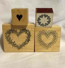 SET OF 4 Wood Mounted Rubber Stamps HEARTS LOVE VALENTINES WEDDING