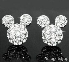 DISNEY MICKEY MOUSE 18K WHITE GOLD PLATED STUDS EARRINGS USE SWAROVSKI CRYSTALS