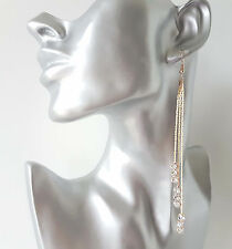 "Beautiful 5"" long GOLD tone & diamante - crystal chain tassel drop earrings  #4"