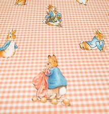 SAMPLE Vintage Wallpaper Peter Rabbit Beatrix Potter Pink Gingham Nursery
