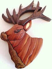 Elk Magnet Intarsia Buck Handcrafted Brown wood FREE SHIPPING