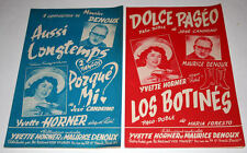Partition vintage music sheet YVETTE HORNER / DENOUX * Accordéon x 2