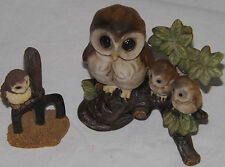 Barn Owl & Owlets Porcelain Bisque Figurine & Smaller Resin Owl On Pitchfork