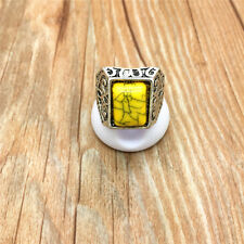 NEW Fashion Jewelry 316L Stainless Steel Yellow Stone Ring Size 8 S8WF5