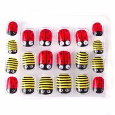 Christmas Ladybug Kawaii Children False Nails 20 Pcs Pre-glue Press on