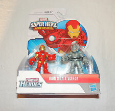 New  Playskool Marvel Super Hero Adventures Iron Man & Ultron Avengers 2 Pack