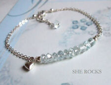 DESIGNER AQUAMARINE BRACELET STERLING SILVER MARCH BIRTHSTONE JEWELLERY GIFT