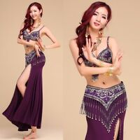 Sexy Belly Dance Costume Outfit Set Bra Top Belt Hip Scarf Skirt Carnival Indian