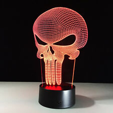 3D Bulbing Light Hologram Illusion Punisher Skull LED Desk Lamp Halloween Decor