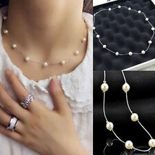 Charm Fashion Jewelry Pendant Chain Pearl Choker Chunky Statement Bib Necklace