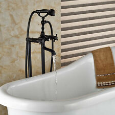 Oil Rubbed Bronze Free Standing Tub Faucet Clawfoot Tub Filler Brass Hand Shower