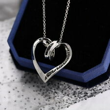 """Silver Heart Pendant with """"A Mother Holds Her Childs Hand"""" Sign Jewelry Necklace"""