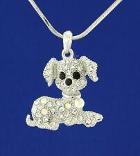 "Dog W Swarovski Crystal Clear AB Beagle Puppy Pet Pendant Necklace 18"" Chain"
