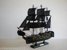 "Wooden Model Pirate Ship Boat Sailing Vessel 13"" Assembled On Stand Black Sails"
