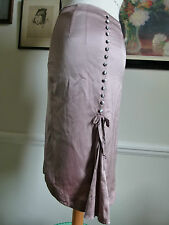 SANIMI 100% silk silver grey Victorian style fish tail knee length skirt Size XS