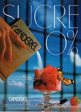 Publicité 1987  CANDEREL remplace le sucre  ASPARTAM