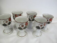 OTAGIRI JAPAN PEDESTAL CUPS POTTERY SET OF 6 PASSION FRUIT