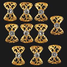 10 X Gold Color Acrylic 3D Sticker Bow Tie Rhinestone Nail Art Glitter DIY Decor