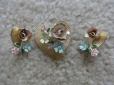 Vintage 1950's Coro Pastel Flowers & Hearts Pin/ Brooch & Clip On Earrings
