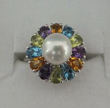 Brand New Sterling Silver Genuine Multi Stone & Freshwater Pearl Ring