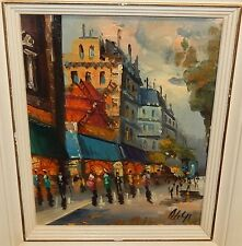 A.DELYS ORIGINAL OIL ON CANVAS PARIS STREET SCENE PAINTING #2