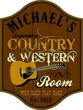 Personalized Country & Western Room Sign, Wall Mounted, Studio, Home, Music