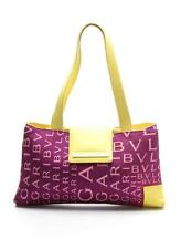 Bvlgari Purple Monogram Satin & Yellow Leather Shoulder Bag
