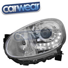 CHROME LED DRL PROJECTOR HEAD LIGHTS FOR NISSAN MICRA 10-14 -DEPO-