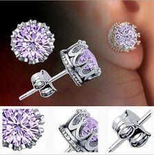 Women Retro Silver purple Austrian Crystal Crown Ear Stud Earrings Jewelry Gift