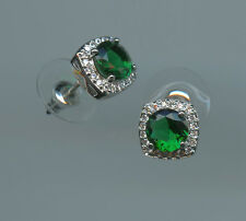 1 Carat 6.5MM Lab Created Emerald & CZ Halo Solitaire Stud Earrings
