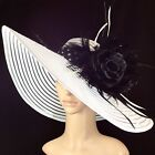 Black Rose Kentucky Derby WHITE Hat Feathers Wide Brim Dress Wedding Tea Party