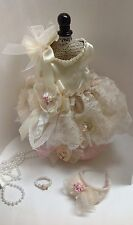 SHABBY IVORY LACE S DOG WEDDING DRESS PET PIG CLOTHES PARTY PUPPY HARNESS DRESS